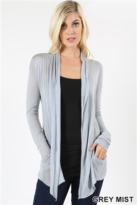 long sleeve lightweight cardigan - grey mist - rayon