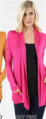 long sleeve lightweight cardigan - hot pink - rayon