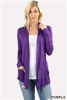 long sleeve lightweight cardigan - purple - rayon