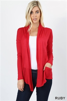 long sleeve lightweight cardigan - ruby red - rayon