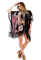Kimono style fringe jacket - black with flowers