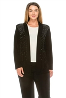 long sleeve jacket in black with rhinestones - acetate/spandex