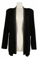 Long sleeve jacket - black with rhinestones on lapel - acetate/spandex