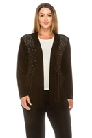 long sleeve jacket in brown with rhinestones - acetate/spandex