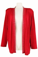 Long sleeve jacket - cranberry with rhinestones on lapel - acetate/spandex