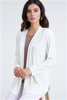 long sleeve jacket in ivory with rhinestones - acetate/spandex