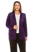 long sleeve jacket in purple with rhinestones - acetate/spandex