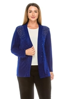 long sleeve jacket in royal blue with rhinestones - acetate/spandex