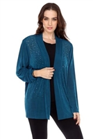 long sleeve jacket in teal with rhinestones - acetate/spandex