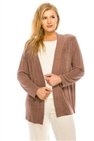 long sleeve jacket in taupe with rhinestones - acetate/spandex