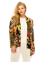 Mid-cut long sleeve jacket - safari green print - polyester/spandex