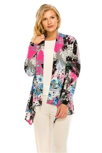Mid-cut long sleeve jacket - pink/grey print - polyester/spandex