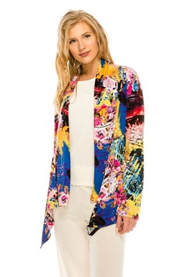 Mid-cut long sleeve jacket - yellow multi print - polyester/spandex