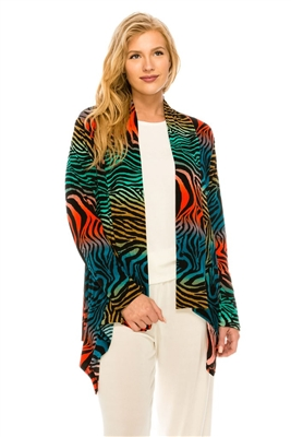 Mid-cut long sleeve jacket - multi zebra print - polyester/spandex