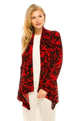 Mid-cut long sleeve jacket - red/black print - polyester/spandex