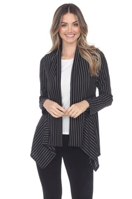 Mid-cut long sleeve jacket - black/white pinstripe - polyester/spandex