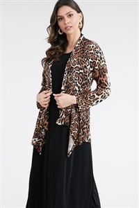 Mid-cut long sleeve jacket - leopard - polyester/spandex