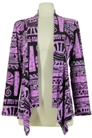 Mid-cut long sleeve jacket - purple aztec - polyester/spandex