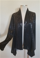 Mid-cut long sleeve jacket - black sequins - polyester/spandex
