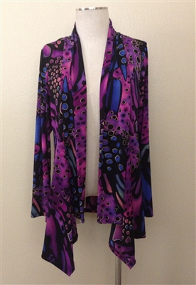 Mid-cut long sleeve jacket - blue/purple - polyester/spandex