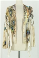 Mid-cut long sleeve jacket - ivory feathers with stones - polyester/spandex