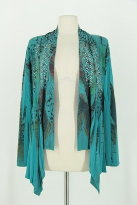 Mid-cut long sleeve jacket - jade feathers with stones - polyester/spandex