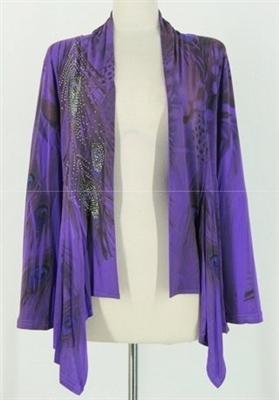 Mid-cut long sleeve jacket - purple feathers with stones - polyester/spandex