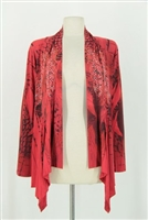 Mid-cut long sleeve jacket - red feathers with stones - polyester/spandex