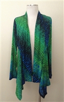 Mid-cut long sleeve jacket - green tie dye - polyester/spandex