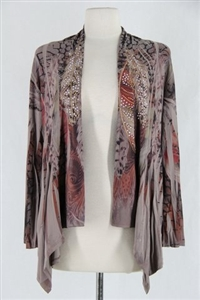 Mid-cut long sleeve jacket - mocha feathers with stones - polyester/spandex