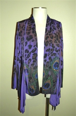 Mid-cut long sleeve jacket - purple/black peacock print with rhinestones - polyester/spandex