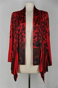 Mid-cut long sleeve jacket - red/black peacock with stones - polyester/spandex