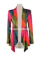 Mid-cut long sleeve jacket - red/green tie dye - polyester/spandex