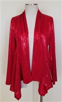 Mid-cut long sleeve jacket - red sequins - polyester/spandex