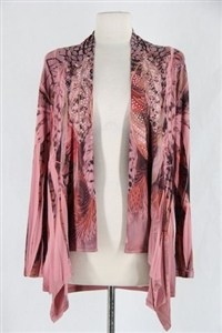 Mid-cut long sleeve jacket - rose/brown feathers with stones - polyester/spandex