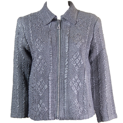 Long sleeve jacket with rhinestone zipper - charcoal