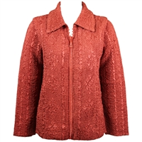 Long sleeve jacket with rhinestone zipper - cinnamon