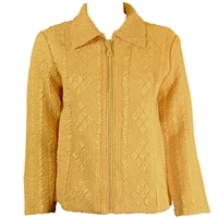 Long sleeve jacket with rhinestone zipper - gold