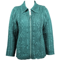 Long sleeve jacket with rhinestone zipper - hunter green