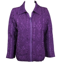 Long sleeve jacket with rhinestone zipper - iris