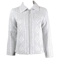 Long sleeve jacket with rhinestone zipper - ivory