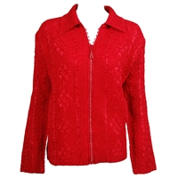 Long sleeve jacket with rhinestone zipper - red