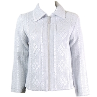 Long sleeve jacket with rhinestone zipper - silver