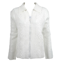 Long sleeve jacket with rhinestone zipper - white