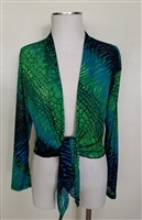 long sleeve shrug- green tie dye  - polyester/spandex
