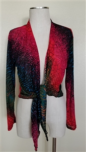 long sleeve shrug- red/green tie dye  - polyester/spandex