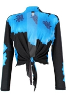 long sleeve shrug- blue big flower - polyester/spandex