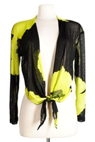 long sleeve shrug- green big flower - polyester/spandex