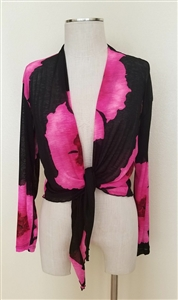 long sleeve shrug- pink big flower - polyester/spandex