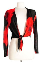 long sleeve shrug- red big flower - polyester/spandex